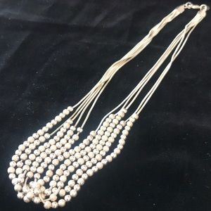 Jewelry - Sterling silver 5 strand beaded necklace
